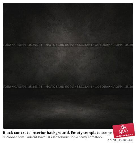 Black concrete interior background. Empty template scene. Стоковое фото, фотограф Zoonar.com/Laurent Davoust / easy Fotostock / Фотобанк Лори