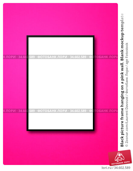 Black picture frame hanging on a pink wall. Blank mockup template. Стоковое фото, фотограф Zoonar.com/Laurent Davoust / age Fotostock / Фотобанк Лори