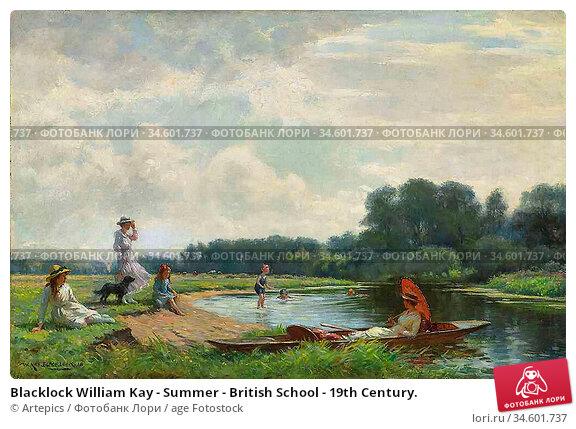 Blacklock William Kay - Summer - British School - 19th Century. Стоковое фото, фотограф Artepics / age Fotostock / Фотобанк Лори