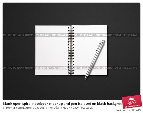 Blank open spiral notebook mockup and pen isolated on black background. Стоковое фото, фотограф Zoonar.com/Laurent Davoust / easy Fotostock / Фотобанк Лори