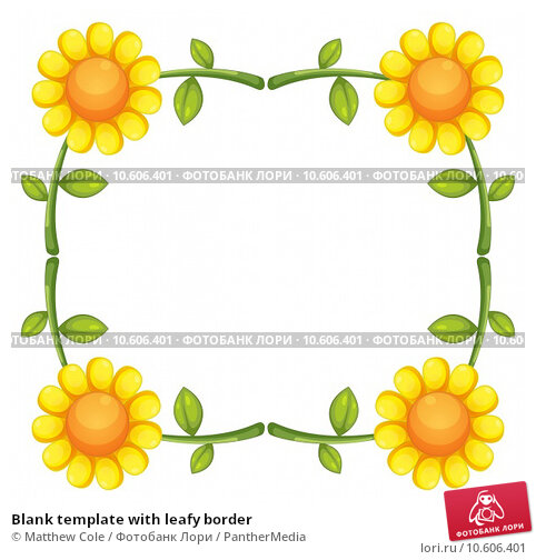 Blank template with leafy border. Стоковая иллюстрация, иллюстратор Matthew Cole / PantherMedia / Фотобанк Лори