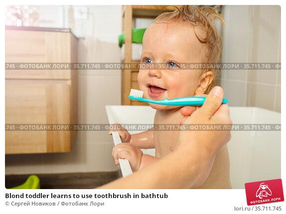 Blond toddler learns to use toothbrush in bathtub. Стоковое фото, фотограф Сергей Новиков / Фотобанк Лори