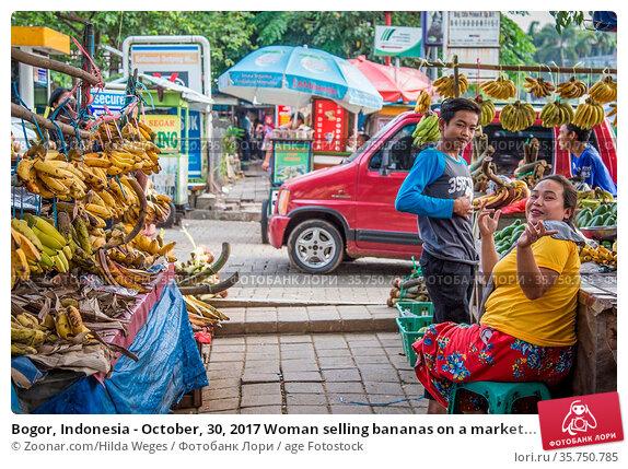 Bogor, Indonesia - October, 30, 2017 Woman selling bananas on a market... Стоковое фото, фотограф Zoonar.com/Hilda Weges / age Fotostock / Фотобанк Лори