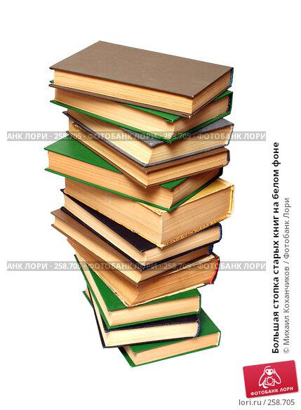 Большая стопка старых книг на белом фоне, фото № 258705, снято 20 апреля 2008 г. (c) Михаил Коханчиков / Фотобанк Лори