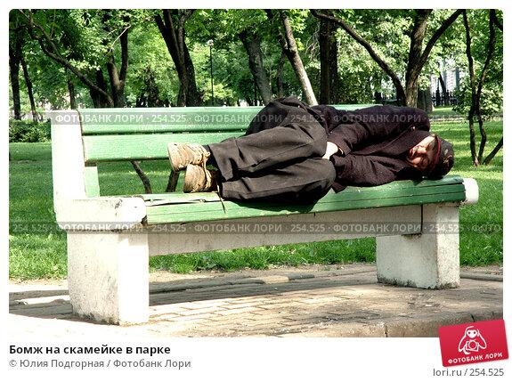 Бомж на скамейке в парке, фото № 254525, снято 11 июня 2005 г. (c) Юлия Селезнева / Фотобанк Лори