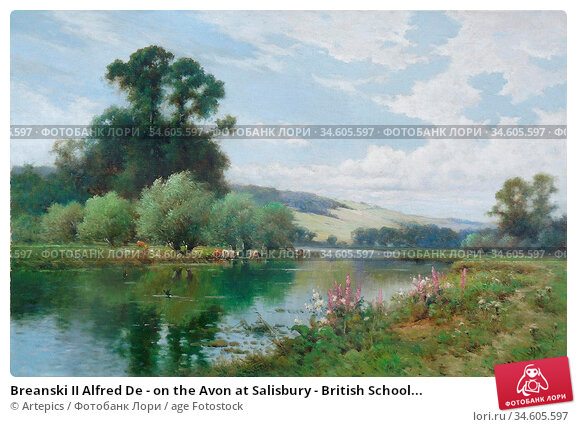 Breanski II Alfred De - on the Avon at Salisbury - British School... Стоковое фото, фотограф Artepics / age Fotostock / Фотобанк Лори