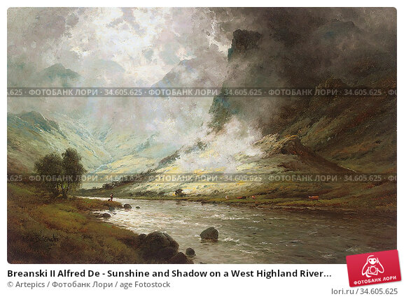 Breanski II Alfred De - Sunshine and Shadow on a West Highland River... Стоковое фото, фотограф Artepics / age Fotostock / Фотобанк Лори