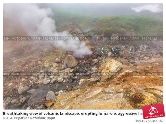 Breathtaking view of volcanic landscape, erupting fumarole, aggressive hot spring, gas-steam activity in crater of active volcano. Стоковое фото, фотограф А. А. Пирагис / Фотобанк Лори