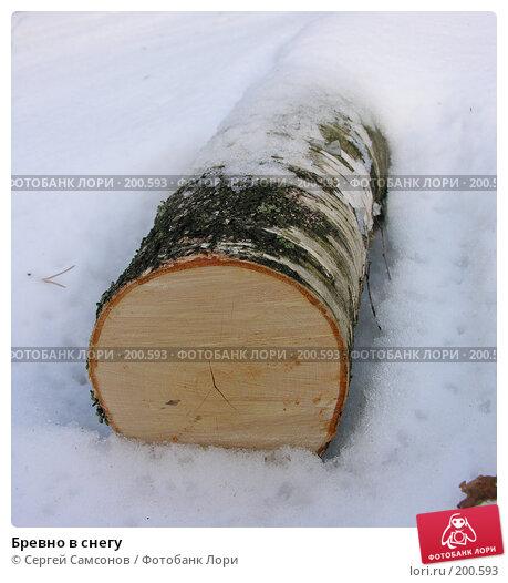 Бревно в снегу, фото № 200593, снято 3 февраля 2008 г. (c) Сергей Самсонов / Фотобанк Лори