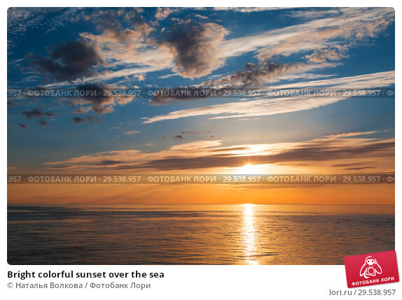 Купить «Bright colorful sunset over the sea», фото № 29538957, снято 17 июня 2018 г. (c) Наталья Волкова / Фотобанк Лори