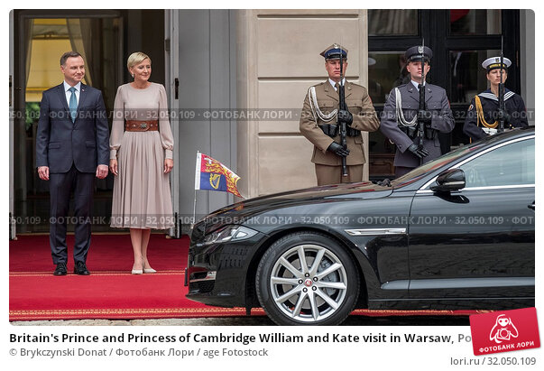 Britain's Prince and Princess of Cambridge William and Kate visit in Warsaw, Poland on July 17th, 2017. Pictured: President Andrzej Duda, first lady Agata Duda. Редакционное фото, фотограф Brykczynski Donat / age Fotostock / Фотобанк Лори