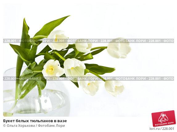 Букет белых тюльпанов в вазе, фото № 228001, снято 8 марта 2008 г. (c) Ольга Хорькова / Фотобанк Лори