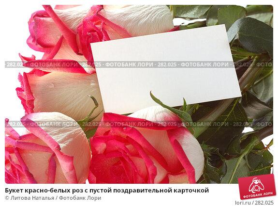 Букет красно-белых роз с пустой поздравительной карточкой, фото № 282025, снято 22 марта 2008 г. (c) Литова Наталья / Фотобанк Лори