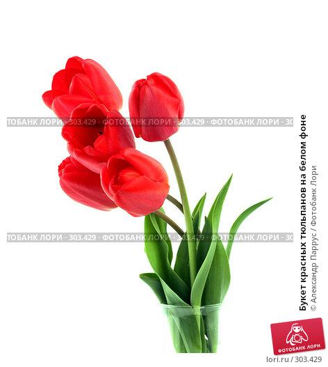 Букет красных тюльпанов на белом фоне, фото № 303429, снято 21 апреля 2008 г. (c) Александр Паррус / Фотобанк Лори