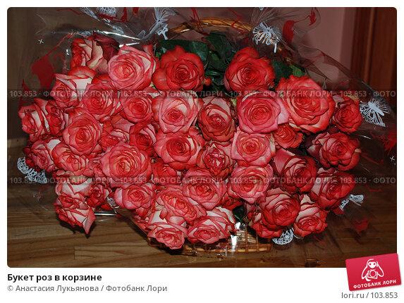 Букет роз в корзине, фото № 103853, снято 28 марта 2017 г. (c) Анастасия Лукьянова / Фотобанк Лори