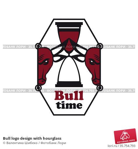 Bull logo design with hourglass. Стоковая иллюстрация, иллюстратор Валентина Шибеко / Фотобанк Лори