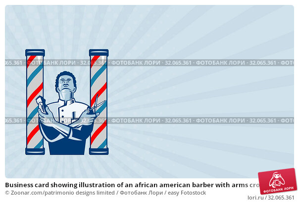 Business card showing illustration of an african american barber with arms crossed holding a hair clipper and a pair of scissors with upright barber's pole on isolated white background. Стоковое фото, фотограф Zoonar.com/patrimonio designs limited / easy Fotostock / Фотобанк Лори