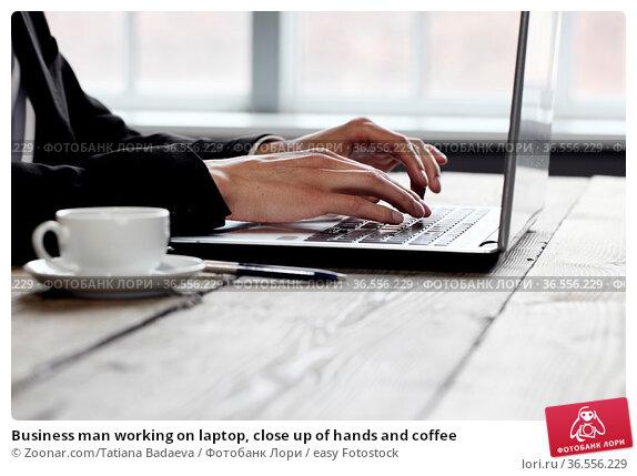 Business man working on laptop, close up of hands and coffee. Стоковое фото, фотограф Zoonar.com/Tatiana Badaeva / easy Fotostock / Фотобанк Лори