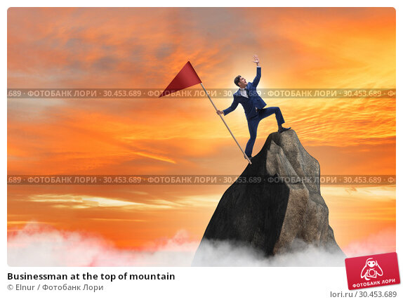 Businessman at the top of mountain. Стоковое фото, фотограф Elnur / Фотобанк Лори