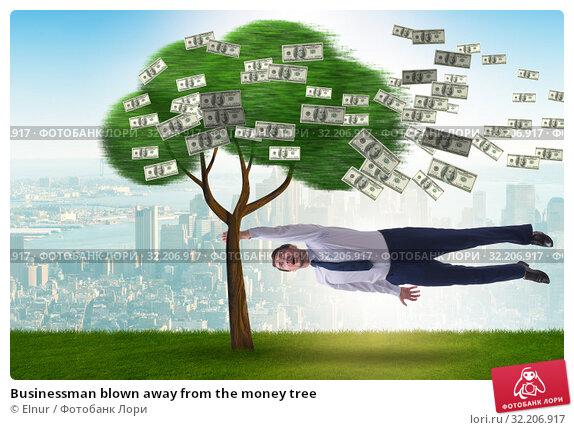 Купить «Businessman blown away from the money tree», фото № 32206917, снято 23 мая 2020 г. (c) Elnur / Фотобанк Лори