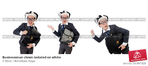 Businessman clown isolated on white. Стоковое фото, фотограф Elnur / Фотобанк Лори