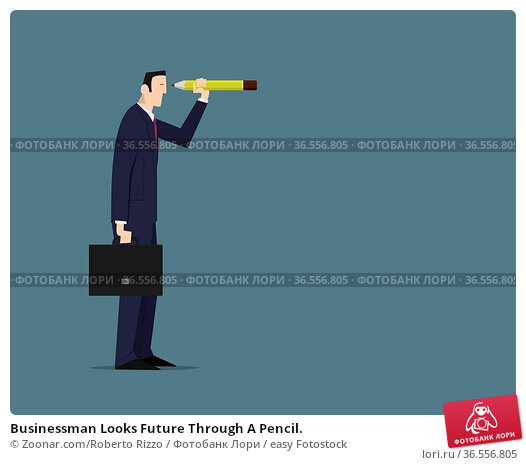 Businessman Looks Future Through A Pencil. Стоковое фото, фотограф Zoonar.com/Roberto Rizzo / easy Fotostock / Фотобанк Лори