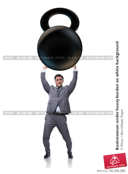 Купить «Businessman under heavy burden on white background», фото № 30330385, снято 19 апреля 2019 г. (c) Elnur / Фотобанк Лори