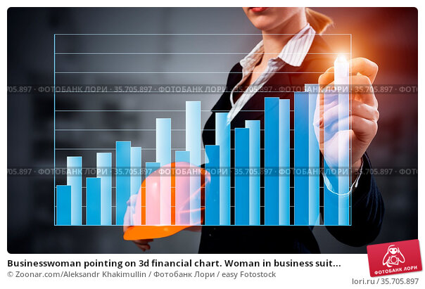 Businesswoman pointing on 3d financial chart. Woman in business suit... Стоковое фото, фотограф Zoonar.com/Aleksandr Khakimullin / easy Fotostock / Фотобанк Лори
