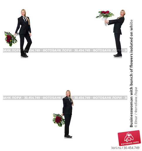 Businesswoman with bunch of flowers isolated on white. Стоковое фото, фотограф Elnur / Фотобанк Лори