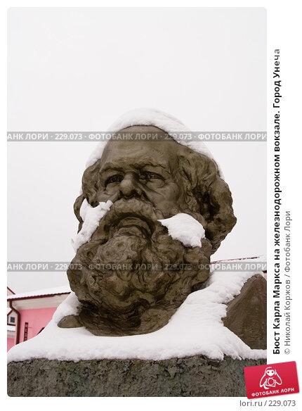 Бюст Карла Маркса на железнодорожном вокзале. Город Унеча, фото № 229073, снято 13 февраля 2008 г. (c) Николай Коржов / Фотобанк Лори