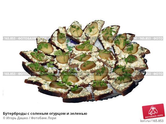 Бутерброды с соленым огурцом и зеленью, фото № 165853, снято 21 декабря 2007 г. (c) Игорь Дашко / Фотобанк Лори