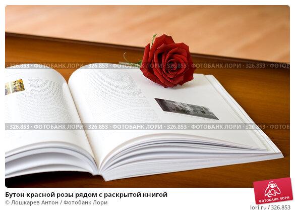 Бутон красной розы рядом с раскрытой книгой, фото № 326853, снято 25 мая 2017 г. (c) Лошкарев Антон / Фотобанк Лори