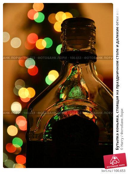 Бутылка коньяка, стоящая на праздничном столе и далекие огни новогодней гирлянды на елочке, фото № 100653, снято 19 февраля 2005 г. (c) Harry / Фотобанк Лори