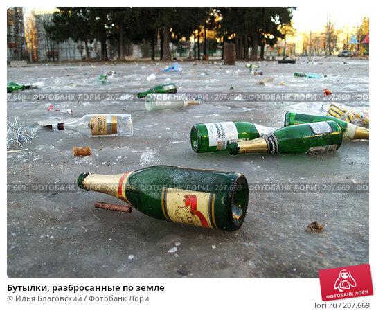 Бутылки, разбросанные по земле, фото № 207669, снято 2 января 2008 г. (c) Илья Благовский / Фотобанк Лори