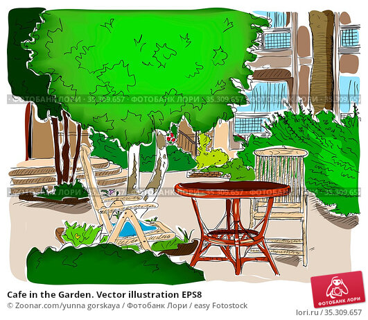 Cafe in the Garden. Vector illustration EPS8. Стоковое фото, фотограф Zoonar.com/yunna gorskaya / easy Fotostock / Фотобанк Лори