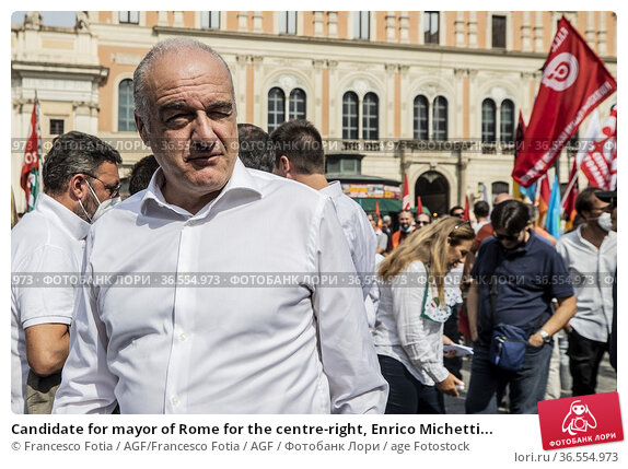 Candidate for mayor of Rome for the centre-right, Enrico Michetti... Редакционное фото, фотограф Francesco Fotia / AGF/Francesco Fotia / AGF / age Fotostock / Фотобанк Лори