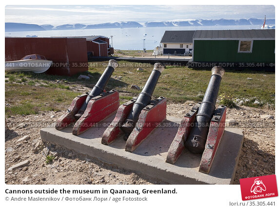 Cannons outside the museum in Qaanaaq, Greenland. Стоковое фото, фотограф Andre Maslennikov / age Fotostock / Фотобанк Лори
