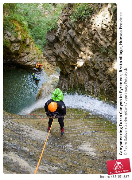 Canyoneering Furco Canyon in Pyrenees, Broto village, Huesca Province... Стоковое фото, фотограф Pedro Salaverría / easy Fotostock / Фотобанк Лори