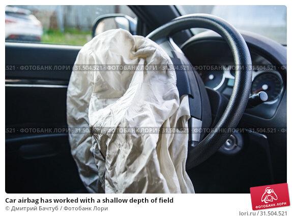 Купить «Car airbag has worked with a shallow depth of field», фото № 31504521, снято 11 июля 2019 г. (c) Дмитрий Бачтуб / Фотобанк Лори