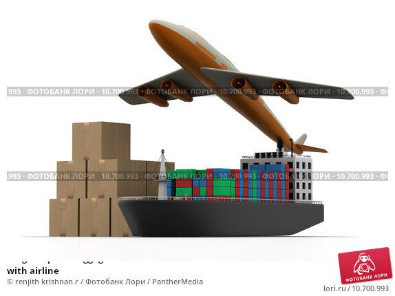 Купить «Cargo ship and luggage's with airline», фото № 10700993, снято 21 ноября 2017 г. (c) PantherMedia / Фотобанк Лори