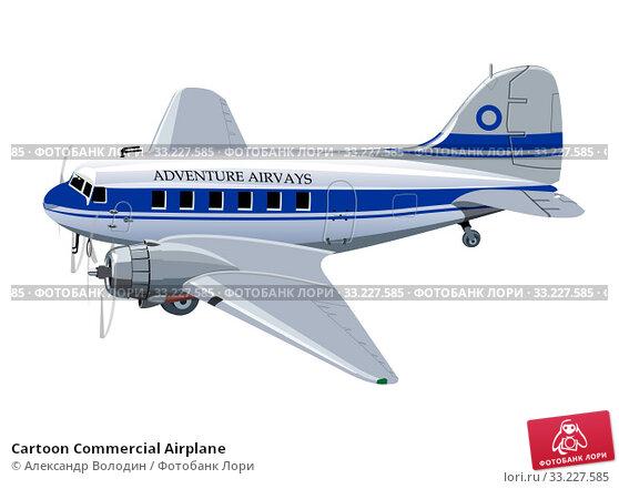 Купить «Cartoon Commercial Airplane», иллюстрация № 33227585 (c) Александр Володин / Фотобанк Лори