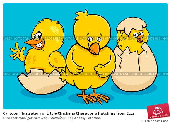Cartoon Illustration of Little Chickens Characters Hatching from Eggs. Стоковое фото, фотограф Zoonar.com/Igor Zakowski / easy Fotostock / Фотобанк Лори