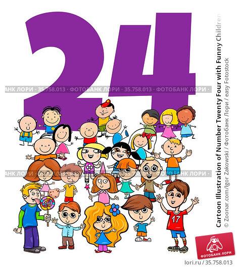 Cartoon Illustration of Number Twenty Four with Funny Children Characters... Стоковое фото, фотограф Zoonar.com/Igor Zakowski / easy Fotostock / Фотобанк Лори