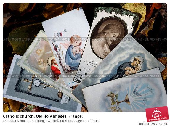 Catholic church. Old Holy images. France. Стоковое фото, фотограф Pascal Deloche / Godong / age Fotostock / Фотобанк Лори
