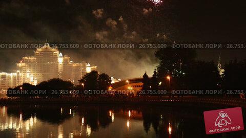 celebration in minsk city with bright fireworks in night, видеоролик № 26753609, снято 1 октября 2016 г. (c) Яков Филимонов / Фотобанк Лори