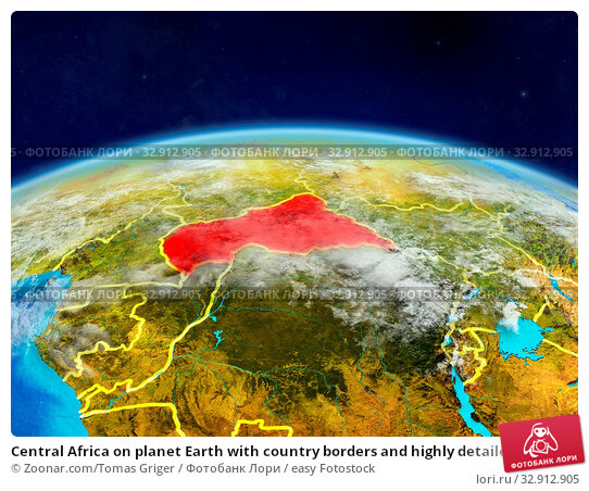 Central Africa on planet Earth with country borders and highly detailed planet surface and clouds. 3D illustration. Elements of this image furnished by NASA. Стоковое фото, фотограф Zoonar.com/Tomas Griger / easy Fotostock / Фотобанк Лори