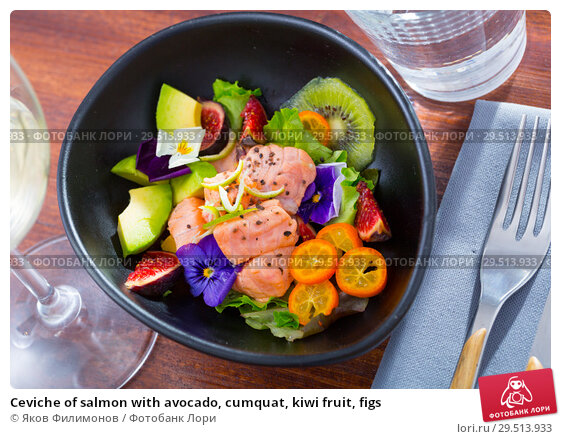 Купить «Ceviche of salmon with avocado, cumquat, kiwi fruit, figs», фото № 29513933, снято 23 ноября 2019 г. (c) Яков Филимонов / Фотобанк Лори
