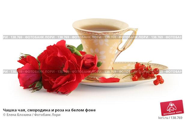 Купить «Чашка чая, смородина и роза на белом фоне», фото № 138769, снято 27 июня 2007 г. (c) Елена Блохина / Фотобанк Лори