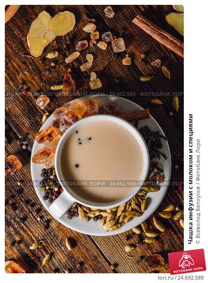 Купить «Чашка инфузии с молоком и специями», фото № 24692589, снято 12 декабря 2016 г. (c) Всеволод Белоусов / Фотобанк Лори