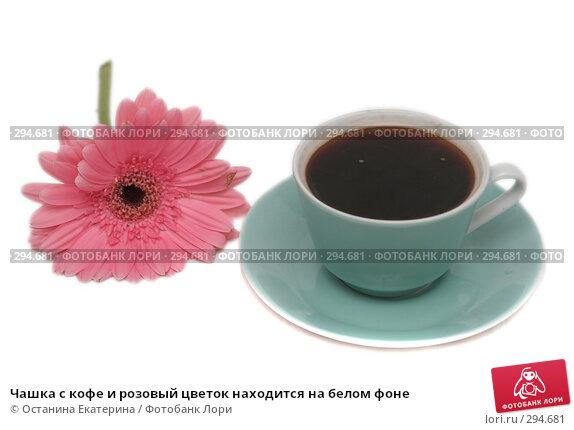 Чашка с кофе и розовый цветок находится на белом фоне, фото № 294681, снято 16 октября 2007 г. (c) Останина Екатерина / Фотобанк Лори